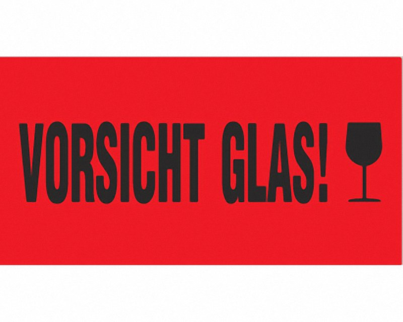 hinweis etiketten aufkleber faltkarton warnetiketten rot vorsicht glas 145x76mm ebay. Black Bedroom Furniture Sets. Home Design Ideas